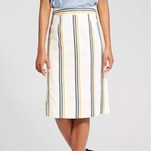 Who What Wear Linen Blend Colorful Stripe Skirt 2